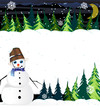 Night winter woodland scene with cute snowman