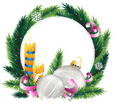 Wreath with burning candles and Christmas decoratiopns