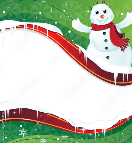 Winter background with a happy snowman in red scarf