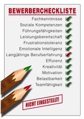 Bewerber Checkliste NICHT EINGESTELLT