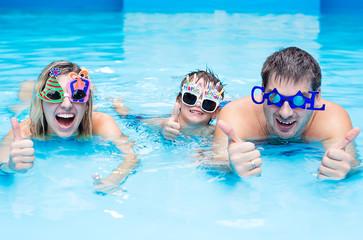 Family in aqua centre
