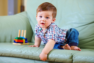 curious little baby toddler playing toys