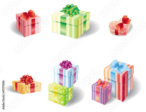 Set of colorful present box