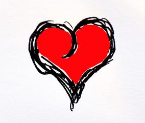 dessin de coeur peint en rouge