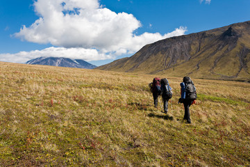 Hike in Kamchatka valley.