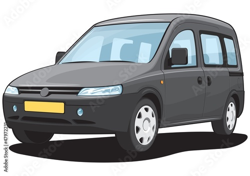 Vector isolated black minivan cargo and passenger