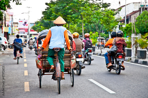 Foto op Plexiglas Indonesië View of Yogyakarta with its typical hundreds of motorbikes on th