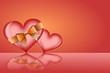Zwei Herzen mit goldener Schleife als Hintergrund
