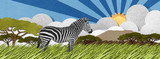 Zebra made from recycled paper background