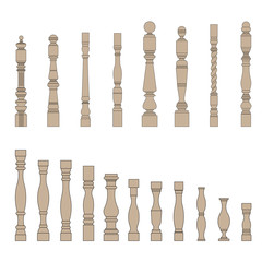 set of architectural element – balustrade, vector