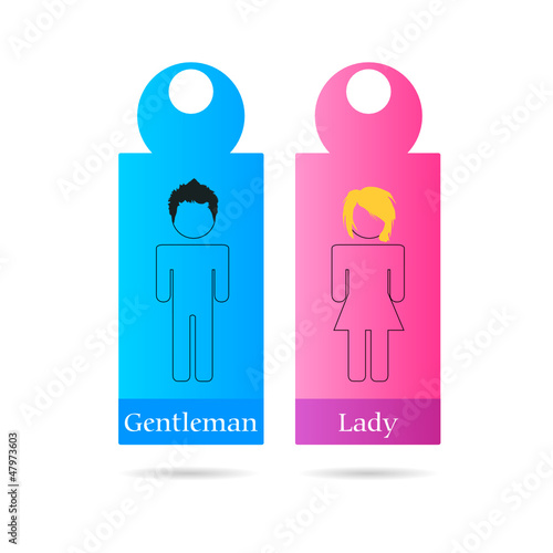 gentleman and lady sign for toilet vector illustration
