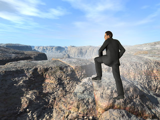 Conceptual young 3D male businessman climbing high mountain