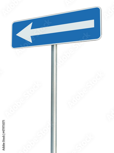 Left traffic route only direction sign pointer blue isolated