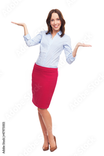 Business woman presenting your products