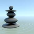 Zen stones on calm water