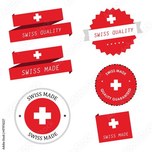 Swiss made labels, badges and stickers