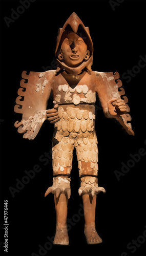 Eagle warrior statue. Aztec. Mexico.