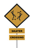 Skater Crossing Caution Road Sign