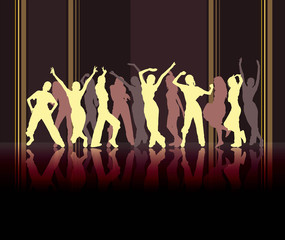 Beige dancing silhouettes on striped dark background