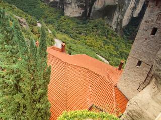 the roof of Meteora  monastery. Greece