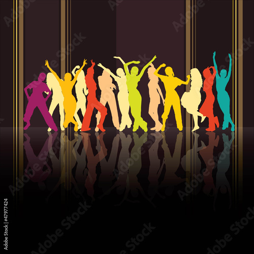 Colored dancing silhouettes on striped background
