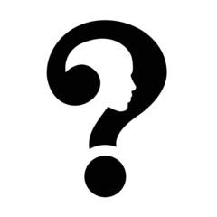 question mark human head symbol, vector