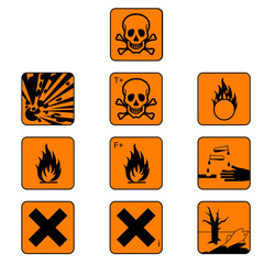 Set of chemicals hazard symbols, vector