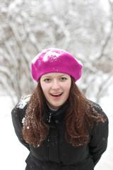 Laughing girl in the snow