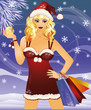 Christmas sale. santa woman with shopping bags. vector