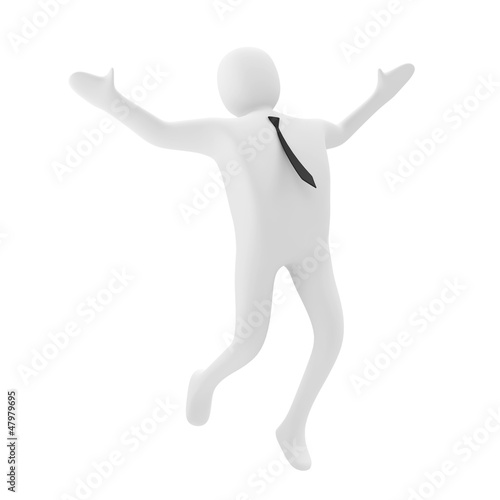 3d Business Man Jumping with Joy