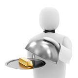 3d Man Waiter with Golden Bar on Silver Tray