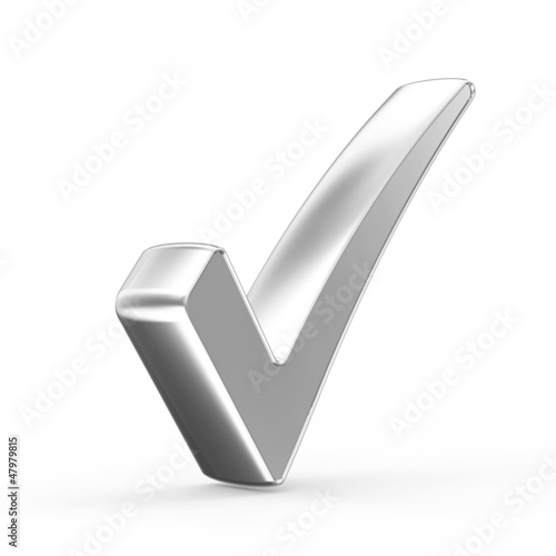 Silver Check Mark isolated on white background