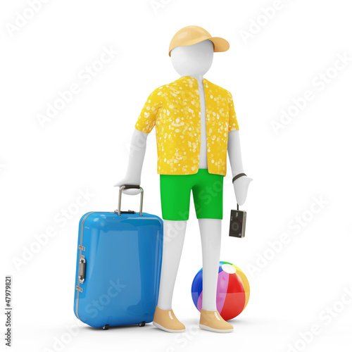 3d Man Tourist with different accessories for vocation