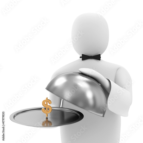 3d Man Waiter with Golden Dollar Symbol on Silver Tray