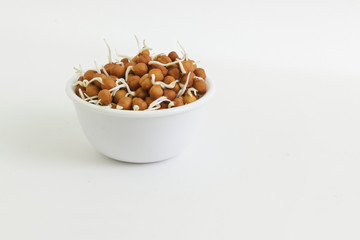 bowl of chickpea sprouts against white background