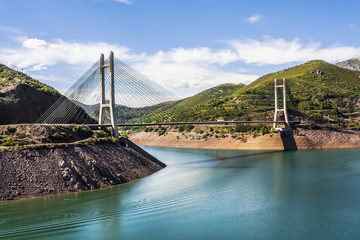 Cable-stayed bridge in Barrios de Luna reservoir, Leon, Spain