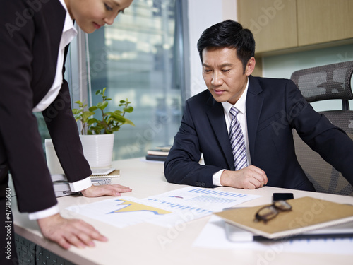 manager reviewing business with subordinate