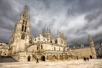 Cathedral of Burgos in cloudy day, Castilla y Leon, Spain