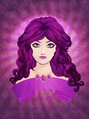 Girl with long purple hair