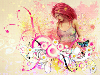 Girl with pink hair and flourish
