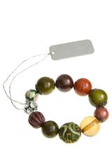 Stone bead bracelet on white background