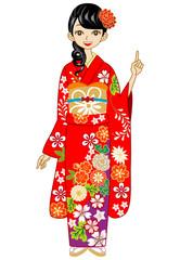 Kimono woman, point,Red