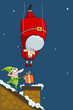 vector illustration of Santa falling in chimney
