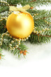 Christmas ball on fir tree with snow, isolated on white