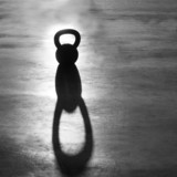 Crossfit Kettlebell weight backlight and shadow - 47984491