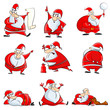 vector illustration of Santa Claus in funny expressions