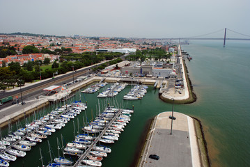 View on Lisbon yacht harbor, Portugal