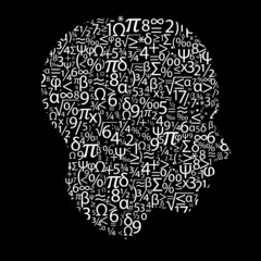 head with numbers, vector