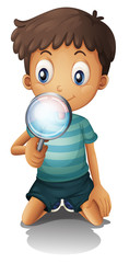 A boy and a magnifier