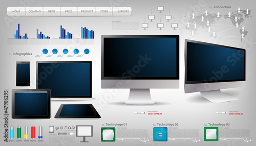 vector laptop, tablet computer With infographics set